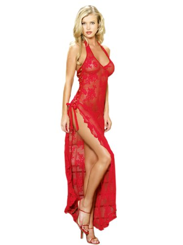 SeXy Sheer Stretch Lace Nightgown Long Gown Thong Panty Set Black or Red