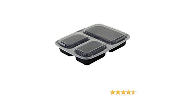 AmerCare 3 Compartment Rectangular To Go Container with Lids Case of 150 10 Inch x 7.5 Inch x 1.75 Inch 33 Ounces