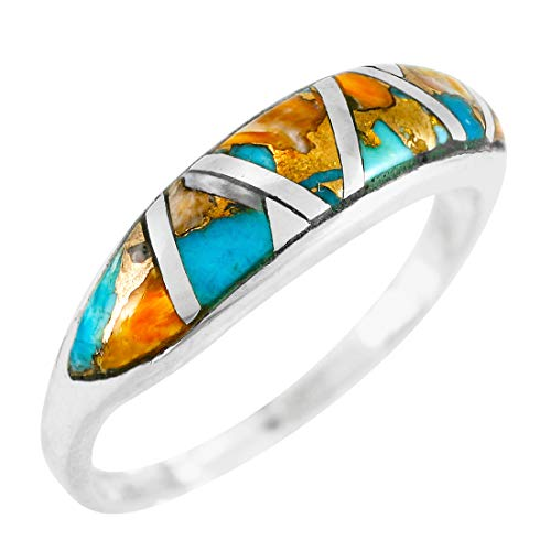 Turquoise Ring Sterling Silver 925 Genuine Gemstones Size 5 to 11 (Spiny Turquoise, 7)