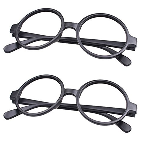 FancyG® Retro Geek Nerd Style Round Shape Glass Frame NO LENSES Costume Eyewear 2 Pieces Set - Matte Black x 2