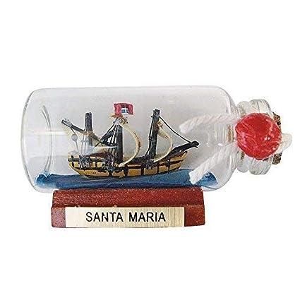 """Pequeño barco en botella"""" Santa Maria """", Decoración Marítima,Nave Botella 6cm"""