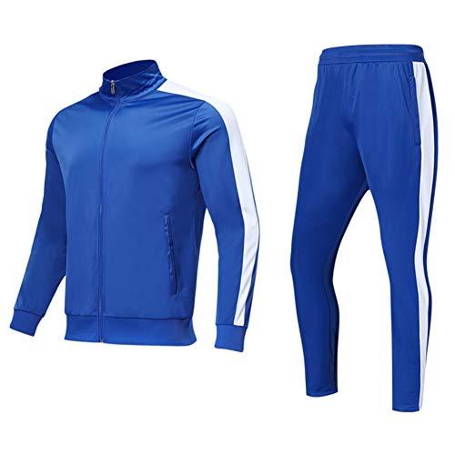 - Shinestone Men's Sport Casual Tracksuit Warm Up Tracksuit Gym Training Wear (Blue, X-Large)