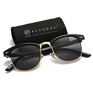 AEVOGUE Polarized Sunglasses Semi-Rimless Frame Brand Designer Classic AE0369 (Black, 48)