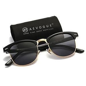 AEVOGUE Polarized Sunglasses Semi-Rimless Frame Brand Designer Classic AE0369 (Black, 48)