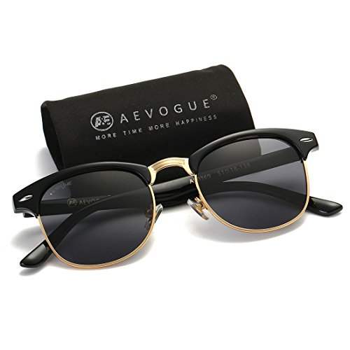 AEVOGUE Polarized Sunglasses Semi-Rimless Frame Brand Designer Classic AE0369 (Black, - Designer Men Sunglasses