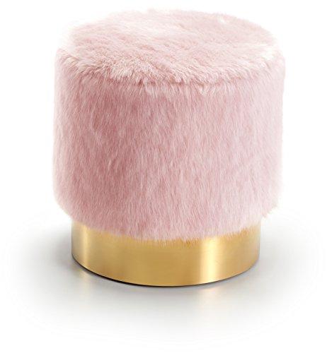 Meridian Furniture 124Pink Estelle Gold Ottoman, Pink from Meridian Furniture