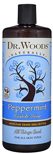 Dr. Woods Pure Castile Peppermint Soap with Organic Shea Butter, 32 (Dr Woods Pure Almond Castile Soap)