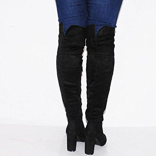 Donna Nera Sopra Moda Ginocchio Stivali Tacco Tacchi Alti Scarpe Dimensione 3-8 UK6/EURO39/AUS7/USA8