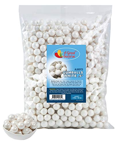 White Gumballs for Candy Buffet - Apx. 620 Gumballs - 2 Pounds - Mini Shimmer Gumballs 1/2 Inch - White Candy - Bulk Candy