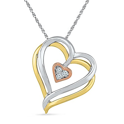 Estella Collection (The Orion Collection - Three Tone 10K Gold And Diamond Heart Pendant With 16