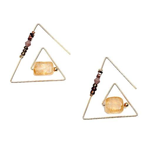 (Injoy Jewelry Handmade Unique Geometric Triangle Dangle Earring Synthetic Citrine Drop Earrings Eardrop for Women Girls)