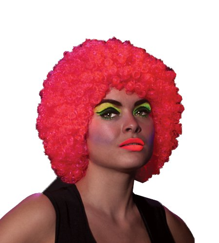 Rubie's Neon Afro Rave Humor Wig, Pink, One
