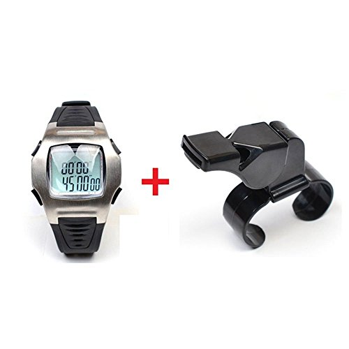 Firelong Sports Referee Watch Football Soccer Game Coach Referee Timer with Stainless Steel Buckle & Referee Whistle with Finger Grip