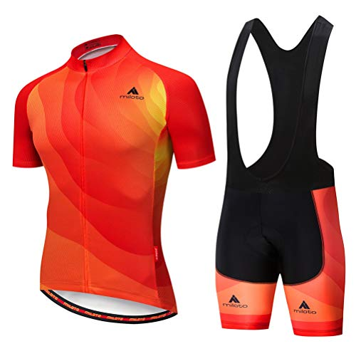 Uriah Men's Cycling Jersey Bib Shorts Sets Short Sleeve Reflective Orange Red Size L(CN) ()