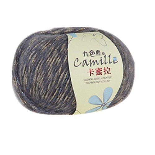 One Skein Super Soft Luxury Kid Angola Mohair Cashmere Wool Knitting Yarn 50g,Dark grey & Spun gold - Kid Mohair Yarn