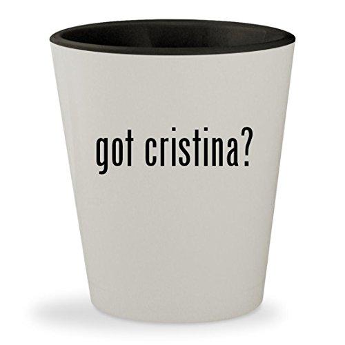 got cristina? - White Outer & Black Inner Ceramic 1.5oz Shot (Antinori Santa)