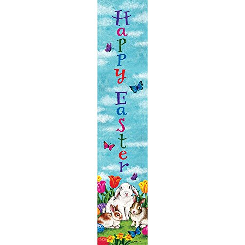 (Three Bunnies - Happy Easter - Yard Expression Sign - 6 inch x 30 inch PVC sign Licensed, Trademarked, Copyright by Custom Decor Inc. Made in the USA!)