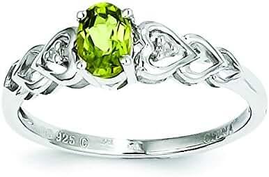 925 Sterling Silver Rhodium-plated Diamond & Peridot August Stone Heart Ring