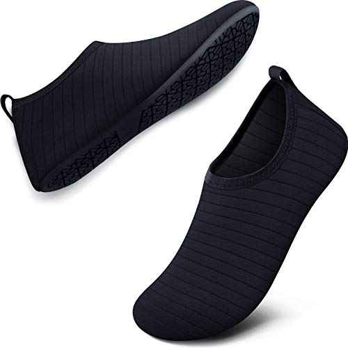 SEEKWAY Womens and Mens Water Shoes Quick-Dry Aqua Socks Barefoot for Outdoor Beach Swim Sports Yoga Snorkeling SK001 701 Stripe Black 9.5-10.5