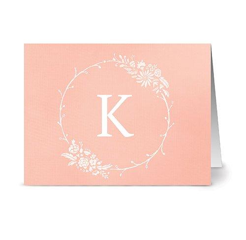 floral-monogram-k-coral-24-cards-blank-cards-w-grey-envelopes-included