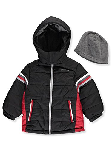 ys' Insulated Jacket with Beanie - Black, 4 (Boys Puffy Jackets)
