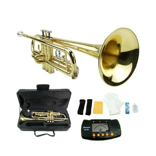 MERANO GOLD LACQUER PLATED TRUMPET WITH CASE + FREE METRO TUNER