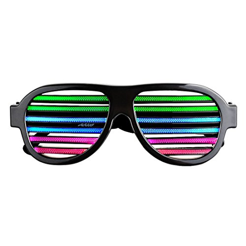 Reactive LED Glasses Rechargeable Musical Shades, Slotted Shutter Flash Light Eye-wear for Nightclub, Bar, Disco, Carnival, Halloween, Dancing Party, Black ()