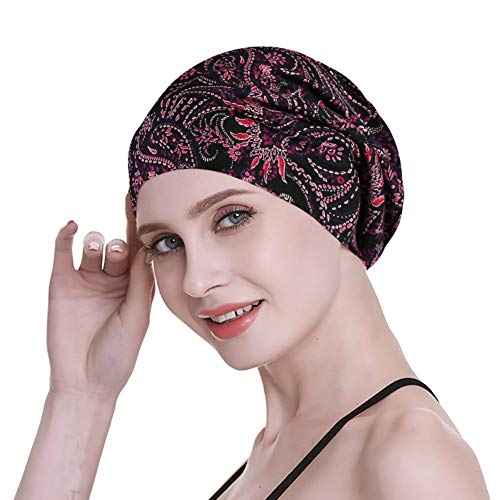 Sleeping Cap Women's Soft Bamboo Satin Lined Large Night Protect Hair Rainbow Wind