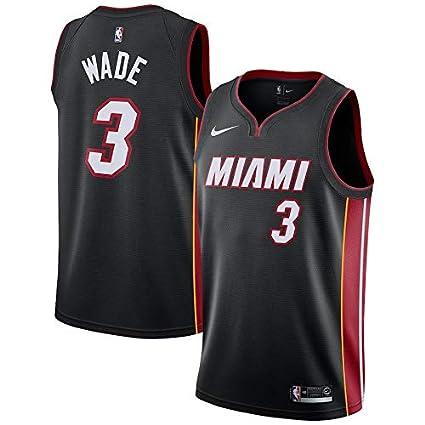 VVACNBA NBA Miami Heat Dwyane-Wade 3 Swingman Men Jersey (Negro, L)