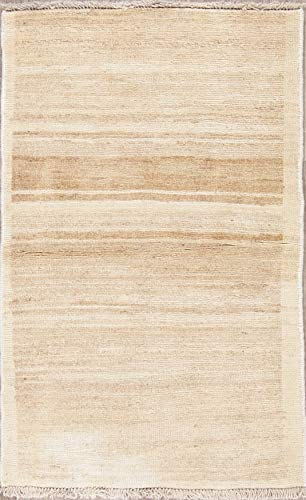 Rug Source One-of-a-Kind Beige Gabbeh Wool Traditional Persian Hand Knotted Oriental Area Rug 2x4 (3' 10