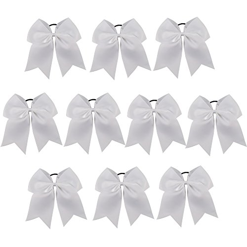 CN Girls Cheerleader Bow with Ponytail Holder for Cheerleading Girl Pack of 10, White
