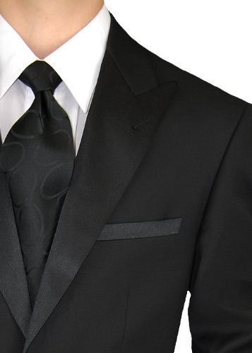 Giorgio Napoli Men's Tuxedo Suit 1 Button Peak Lapel Adjustable Pants Black