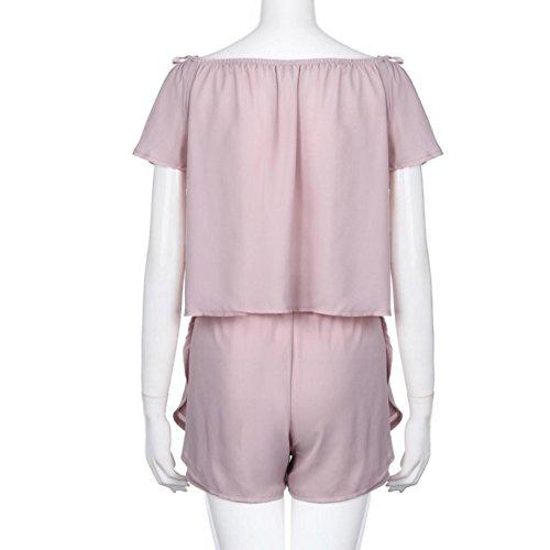 ✽Internet�?Pantalones cortos de la manga blouse + shorts de la manga de la gasa del verano de las mujeres Rosado