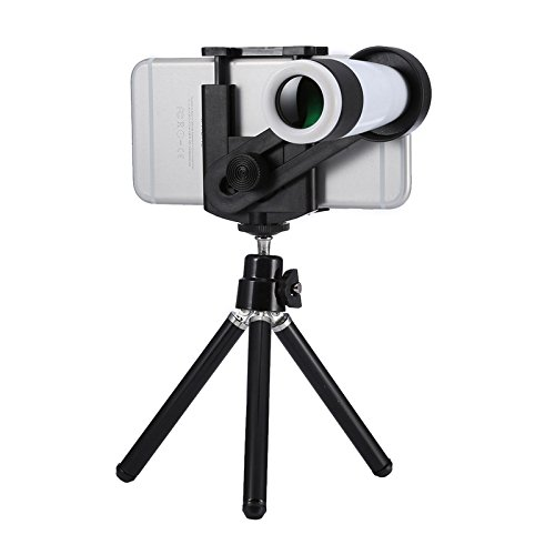 HD Telescope Universal 12x Zoom Optical Telescope Telephoto Camera Lens Kit, Suitable for Width as 5.5cm-8.5cm Mobile Phone (Color : White) by Gladnt