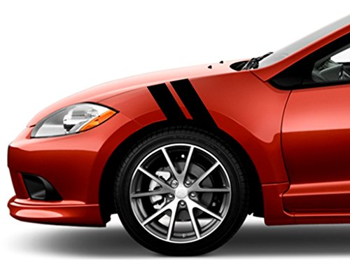 Mitsubishi ECLIPSE Fender Hash Mark Bars Racing Stripes 5D Carbon Fiber Vinyl Grand Sport Graphic Decals 4