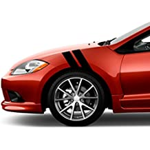 "Mitsubishi ECLIPSE Fender Hash Mark Bars Racing Stripes 5D Carbon Fiber Vinyl Grand Sport Graphic Decals 4"" Driver Side - Black"