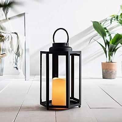 "Lights4fun, Inc. 12"" Black Metal Hexagonal Solar Powered LED Flameless Candle Outdoor Lantern"