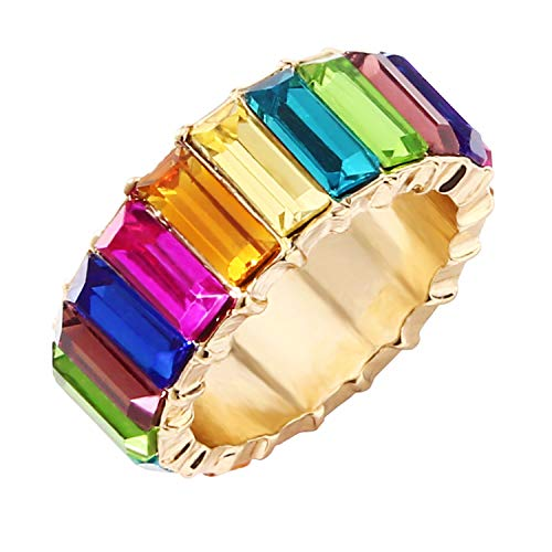 LEGITTA Rainbow Baguette Band Ring CZ Cubic Zirconia Crystal Stackable Eternity Gold Band Wedding Jewelry for Women Girls Size ()