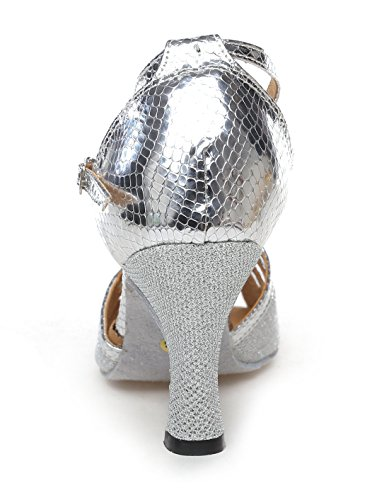 Latin Modern Peep Women's Strap Shoes Tango Glitter Dance Salsa Silver Toe Ankle TDA Ballroom SqfgfC