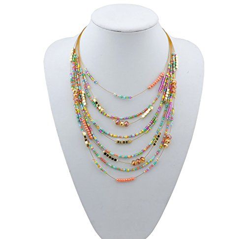 (Bocar Multilayer Colorful Handmade Seed Beads Illusion Chain Bib Statement Necklace Wedding Bridal Jewelry)