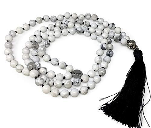 - Adabele Premium 108 Mala Beads Malas Necklace - Howlite Healing Crystal Tibetan Buddhist Prayer Beads Japa Mala Black Tassel for Meditation Yoga Reiki Chakra Stones (Unisex) RGN9