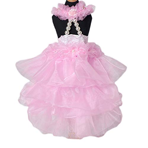 Jim-Hugh 1PC Lace Skirt Sweety Princess Dress Pet Dog Clothes Small Medium Dogs Wedding Dresses Pet Accessories ()