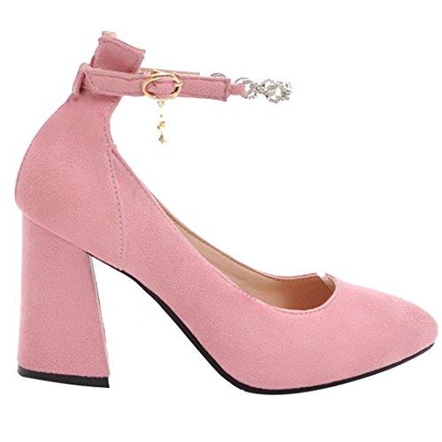 AIYOUMEI Damen Blockabsatz High Heels Knöchelriemchen Pumps mit Strass und Hoher Absatz Rosa