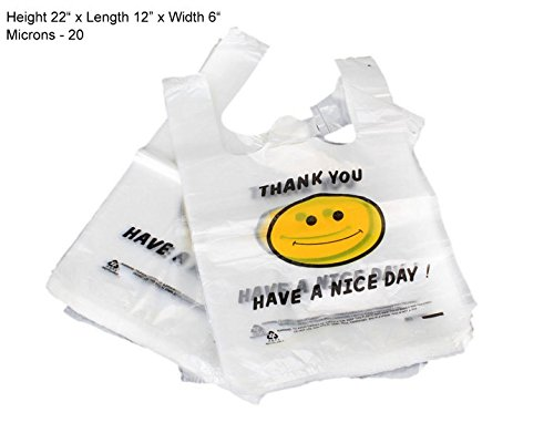 Outs Face Smiley (Thank You Smiley Face T-Shirt Shopping Bags, Take Out Bags (180 Large Bags ))