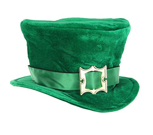 [Green Leprechaun Hat with Buckle by elope] (Paddys Day Costumes)