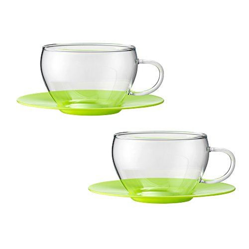 Bohemia Cristal 093012101Play of Colors Borosilicate Glass Set of 2Coffee/Cappuccino Cup with Saucer Plastic Tumbler, Glass, Green, 100x 100x 6cm 2Units