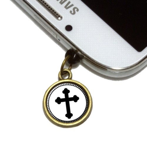 Orthodox Cross Cell Mobile Phone Jack Charm Universal Fits iPhone Galaxy HTC