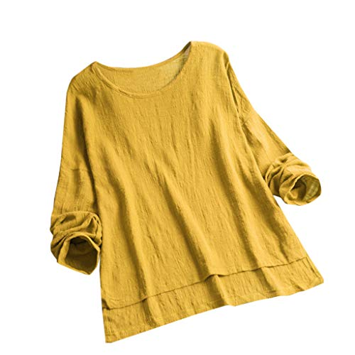(Dressin Womens T Shirt,Women Girls Vintage Embroidery Casual Short/Long Sleeve Button Linen Top T-Shirt Blouse)