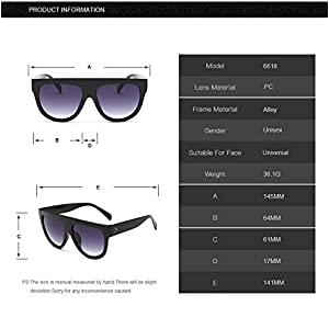 QiHorr(TM) Woman oculos Flat Top Big Oversized Mirror Sun Glasses Cat Eye Sunglasses Women Designer Brand Luxury Eyewear gafas de sol [10]
