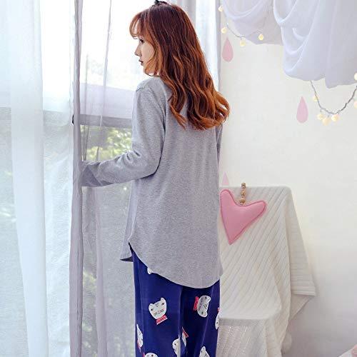 2 Pezzi Maniche Cotone Donna Stampato Da Dukunkun Lunghe Pajama Con l In Xl qYTnRX